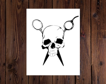 Skull and Shears Printable Wall Art 11 x14 and 8 x 10 Stylist