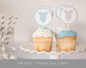 Baby Shower Cupcake Toppers - Set of 12, One Piece Baby Shower, Baby Shower Decoration, Baby Shower Cupcake Toppers, Choose your colors