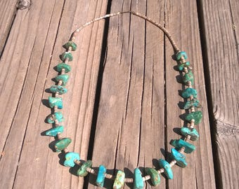 Fabulous Natural Kingman Turquoise Nugget Necklace From The 1990's