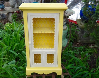 Yellow, Cabinet, Chicken Wire, Rustic Curio, Spice Rack, Cupboard, Knick Knack, Boho Chic, Shelves, Storage, Farmhouse, Cabinet, Artsy, Casa