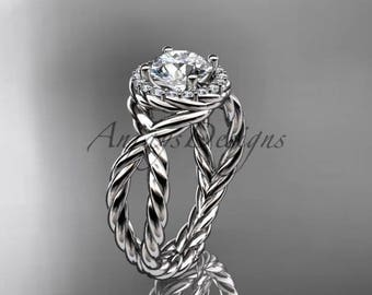 "14kt white gold rope halo diamond engagement ring with a ""Forever One"" Moissanite center stone RP8127"
