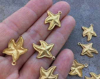 12 pc Goldtone Brass Ocean Themed Star Fish Charms For Jewelry or DIY Embellishment Crafts