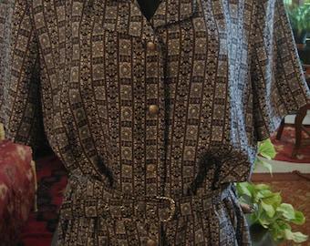 Vintage 1980s Grey and Black Double Collar Shirt Waist Dress