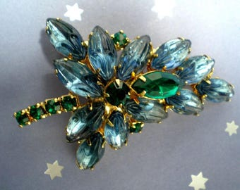Leaf Brooch  with  Smoky Blue and Green Sets   Item: 16075    Unsigned