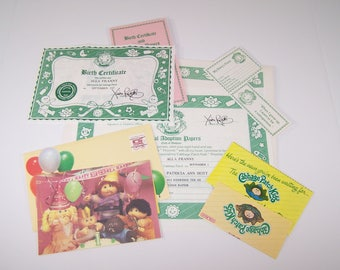 Authentic Cabbage Patch Kids Birth Certificate and First Birthday Card - Alla Franny