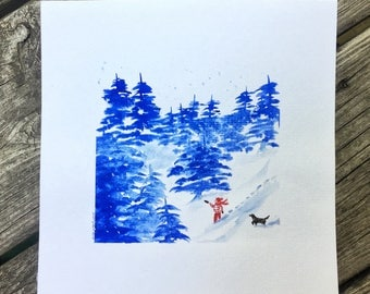 Original Watercolor Winter Landscape Painting 8x8 Snow Landscape Winter Art Christmas Painting - Alex and Abby - by Em Campbell