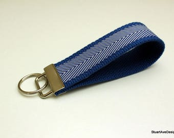 Duke Blue Devils key fob * keychain wristlet * blue and white