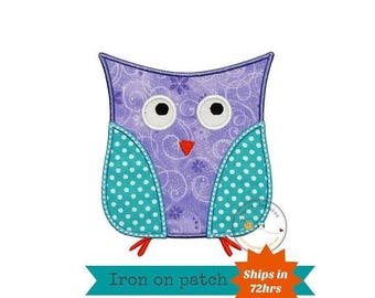 ON SALE NOW Lavender and aque owl iron on patch, soft purple and blue owl machine embroidered heat press patch for clothing, quick shipping