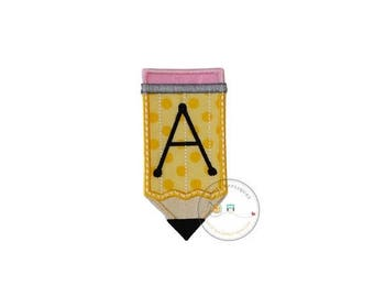ON SALE NOW Pencil iron on applique, personalizable machine embroidered iron on back to school patch, fabric no yellow pencil  patch