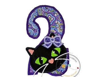 ON SALE NOW Jade kitty face with purple oil spill pattern birthday number 2 - iron embroidered fabric applique patch embellishment- ready to
