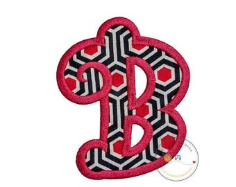 ON SALE NOW Chunky curls letter B iron on applique, Girls nautical monogram, iron on initial B, Blue and pink monogram letter B, Ready to sh