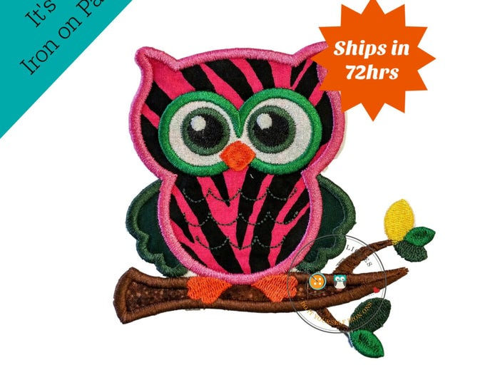 Zebra printed hot pink owl iron on applique, embroidered hot pink owl on branch fabric patch, fun summer zebra girl owl patch, glitter eyes