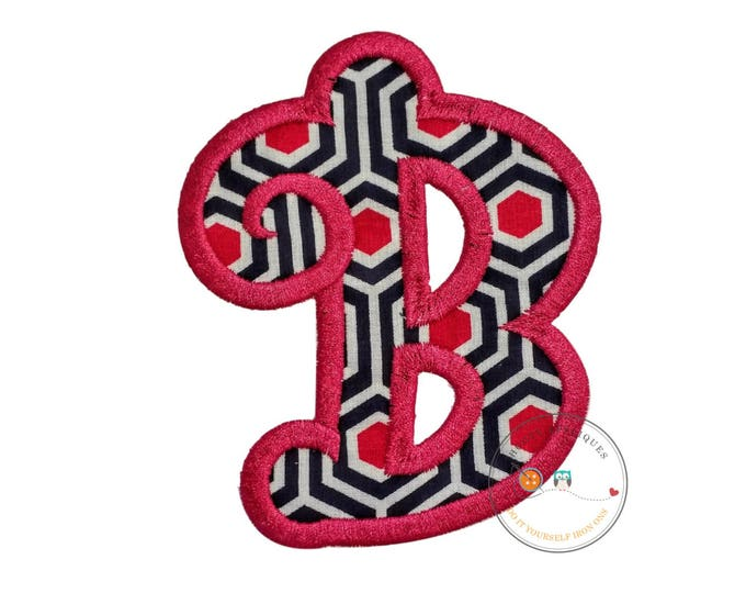 Chunky curls letter B iron on applique, Girls nautical monogram, iron on initial B, Blue and pink monogram letter B, Ready to ship