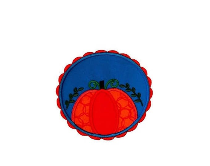 ON SALE NOW Pumpkin with red scalloped frame and blue background fabric iron on applique- fall no sew embroidered patch- ready to ship