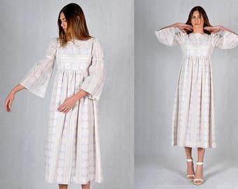 Velvet Print Baby Doll Vintage Prairie Dress