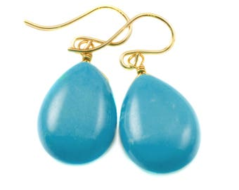Blue Turquoise Earrings Large Teardrop Smooth 14k Gold Filled or Sterling Silver Puffed Drops Contemporary Clean Design Soft Blue