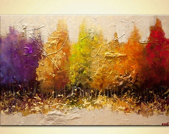 """Modern Landscape Painting Blooming Trees heavy textured GOLD painting ORIGINAL Abstract by Osnat 48"""" x 32"""""""