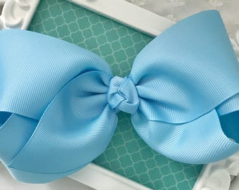 """SALE-Extra Large Blue Hair Bow-5"""" Boutique Hair Bow-Easter Bow XL Hair Bow Light Blue Bow Girls Big Bow 5"""" Hair Bow Preppy Bow Toddler Bow"""