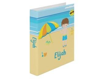 Personalized Binder - Beach Party Boy Ocean Sand Umbrella Castle, Customized Pocket Binder 3 Ring Binder 2 Inch Spine Back to School