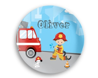 Firefighter Personalized Plate  – Firefighter Boy Girl Fire Truck, 10 inch ThermoSaf® Polymer Plate, Kids Personalized 8.5 inch Bowl