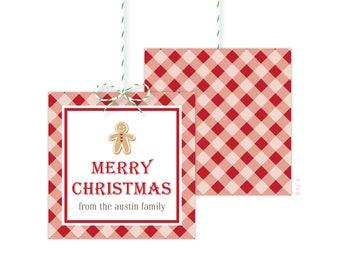 Gingerbread Christmas Gift Tags - Holiday Gift Tag - Holiday Party Favor Tags - Christmas Party Tags - Printed or Printable - Free Shipping