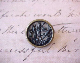 Pretty Edwardian Era Metal Button with Cattails With Insect