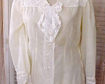 Lovely 1940's Nightgown with Beautiful Lace-Would be a Lovely Dress