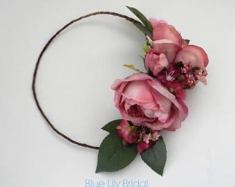 Mauve Plum Flower Crown with English Gareden Roses/ Wedding Flower Crown/Boho Wedding/ Photo Prop/ Bridal Hair Piece