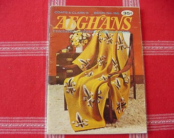 Vintage 1969 Afghans, Crocheted, Knitted, Afghan Stitch, Coats & Clark's Book No. 195