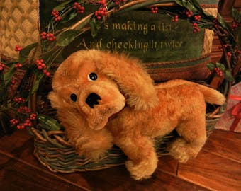 Large Vintage Steiff Cocker Spaniel Dog IDs #4373/29  Handmade German Toy Collectible Antique Art MINT Cond. 1968-76 only