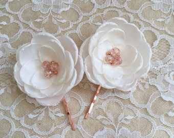 Rose gold ivory bridal flowers, white cream bridal brooch sew on dress sash ornament, rose gold shoe clips, bridesmaid grips barrette pins