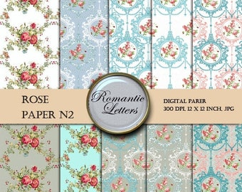Sale 60% Digital Scrapbook Paper Pack ROSE Floral Shabby Chic digital backdrop Shabby Chic flowers digital scrapbook background paper rose f