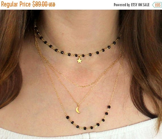 20% off. Multi Chain Choker. Moon and star Necklace, Black Spinel Necklace. Adjustable Necklace. Rosary Style Chain.  NCL2409