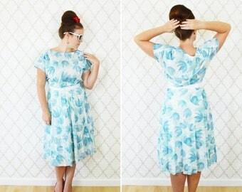 SUMMER SALE Vintage 80s Light Blue Tulip Sun Dress - Casual Summer Day dress - Garden Party Tea time brunch dress - Breezy Blue dress - Larg