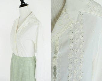 SUMMER SALE Vintage 1970's White Embroidered Secretary Blouse - 70's Chic White Long Sleeve Button Up Folk Top - Ladies Size Medium