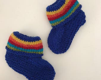 Blue Rainbow Booties  - hand knitted in pure wool
