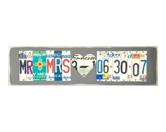 Mr & Mrs Sign- 10th anniversary gift of tin -10 year anniversary gift for husband - 10th anniversary gift for him - 10th anniversary gift