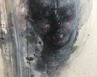 Original Horror Painting on Paper FREE US SHIPPING