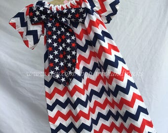 Red White and Blue Chevron Peasant Dress, 4th of July Dress, 4th of July Outfit, America Dress, America Outfit, Red White and Blue Wear
