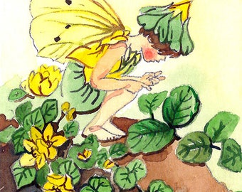 ACEO Limited Edition 1/25- Herb twopence fairy inspired by Cicely Mary Barker, Art print of original watercolor, Wild flowers