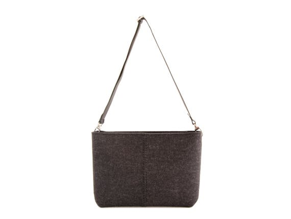Felt CROSSBODY BAG with leather strap / crossbody purse / small crossbody bag w/ zipper / charcoal felt bag / wool felt / made in Italy