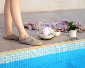 Women spa slippers felted from beige natural wool