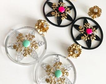 Oh! So Foral Hoop Stud Earrings, Flower Hoop Earrings, Floral Sparkly Earrings, Sparkly Jewelry, Stud Earring Jewelry