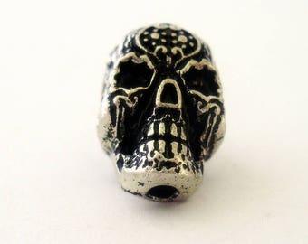 silver metal skull
