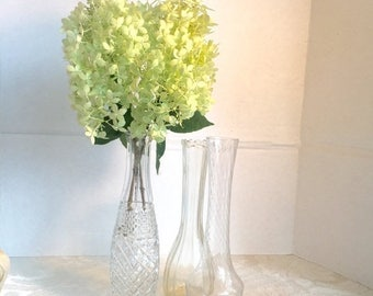 Wedding Sale Vintage Glass Bud Vases Wedding or Party Decor Supplies for Centerpieces and Crafting