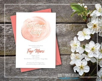Printable Baby Shower Invitation - Coral Watercolor Elegant Printable Invitation for Baby Shower - Elegant Baby Shower 5x7 invitation