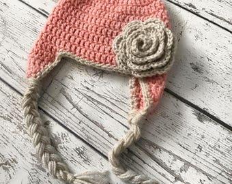 Baby Girl Flower Hat, Crochet Flower Hat, Baby Beanie, Knit Flower Hat