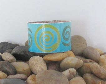 Painted Cuff Bracelet, made from Recycled Linoleum