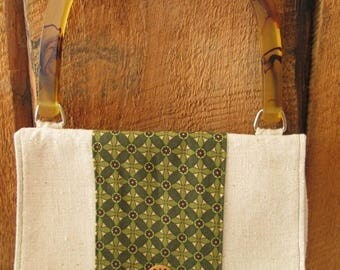 CIJSALE Purse Osnaburg Natural Cotton Print Fabric Handle Wooden Buttons Inner Pouch
