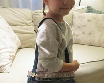 CIJSALE Child's Purse -Recycled Denim With Pink Green Polka Dot Cotton Print Fabrics Lining Velcro Closure